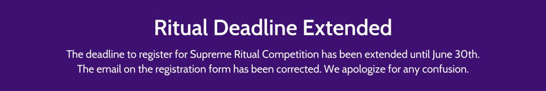 Ritual Deadline Extended